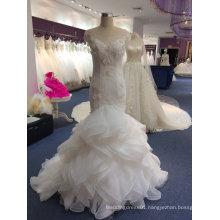 Elegant High Quality Illusion Neck Real Mermaid Wedding Dress