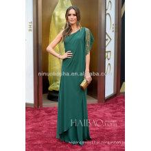Alluring 2014 Vestido de noiva com pérolas de um ombro verde com espaguete e cordão O 86º Oscar Awards Vestido de celebridades Louise Roe NB0337