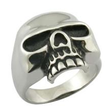 Jóia pura do anel da cabeça do crânio do metal