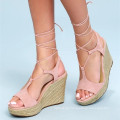 CUTE BLUSH SUEDE LEATHER LACE-UP ESPADRILLE WEDGES