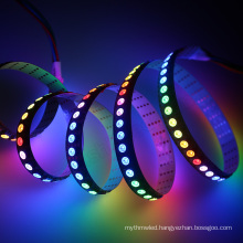 Popular hot selling DC5V addressable digital rgb led flexible pixel strip APA102C 144 leds/m