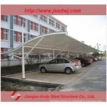 Design Estacionamento de automóveis Blades de aço de sombra Tela de tecido de tração Canopy