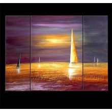 100% Handmade Sailing Boat on Canvas Oil Painting (LA3-180)