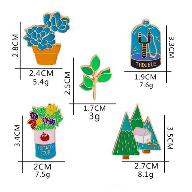 Kawaii Green Plants Enamel Brooch Pins