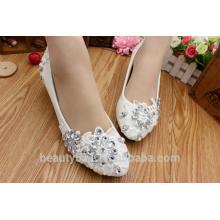 Chaussures en dentelle en cristal à bas talons avec chaussures pour dames Robes et talons chaussures de demoiselles d'honneur WS033