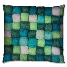 wool knit green cushion