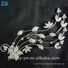 El pelo cristalino lleno del diseño de la manera peina el peine del pelo de la boda de la flor los accesorios al por mayor del pelo