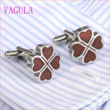 VAGULA Lucky Leaf Aço Inoxidável Red Cufflinks 360
