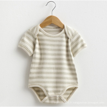 Summer Organic Cotton Baby Short Sleeve à rayures Romper