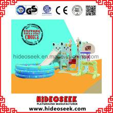Slide de plástico ecológico e balanço com cova de bolas