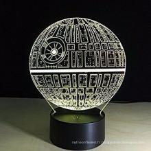 3D LED Veilleuse Lampes, Illusion Optique 3D 7 Couleurs Touch Table Bureau Visual Lampe Cadeaux Jouets pour Enfants