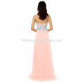 Wholesale chiffon off shoulder pink color floor length wedding dress evening with blue lace