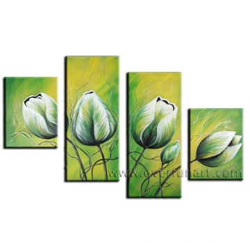 Handmad Wooden Framed Flower Canvas Painting (FL4-098)