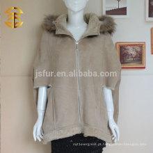 Top Fashion Top Quality Camel Color Ladies pele de carneiro pele dupla face e couro 1.jpg PaOvercoat atacado Bat Sleeve Coat