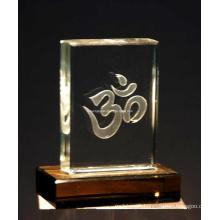 Om in Crystal Block for Hindu Desktop Decoarative
