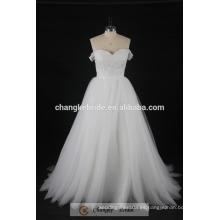 Vestido de boda atractivo de los cequis del hombro cristal del vestido nupcial blanco 2017