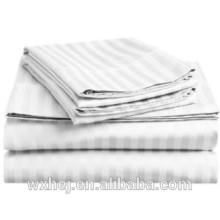 King size white 300 thread count 100% cotton sateen dobby stripe sheet