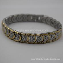 Antique aço inoxidável de dois tons pulseira Link Moon com fivela de metal