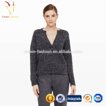 Grand chandail gris surdimensionné d'hiver pour les femmes