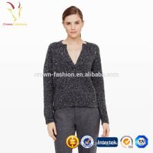 Camisolas de inverno grande cinza oversized para mulheres