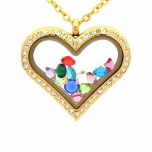 Girlfriend heart shape cz locket pendant necklace jewelry