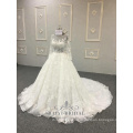 Plus Size Wedding Dress 3D Floral Lace Appliqued Long Sleeve Muslim Bridal Gown