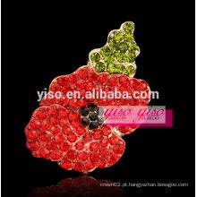 Grande elogio feminino alimentado broche de strass flor