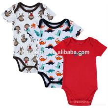 Großhandelsneugeborenes Baby, das Kurzhülse Babyspielanzug roten Druck onesie Säuglingsspielanzug druckt