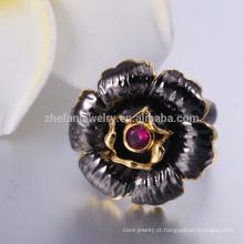 Anel de Campeonato 925 anel de prata com pedra preta
