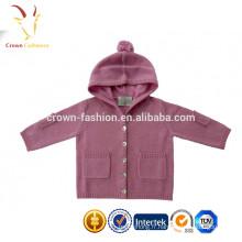 Cardigan en maille tricoté à la main en tricot cachemire mongol pour bébé