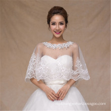 2017 Fashion white wedding dress lace appliques white lace shawl