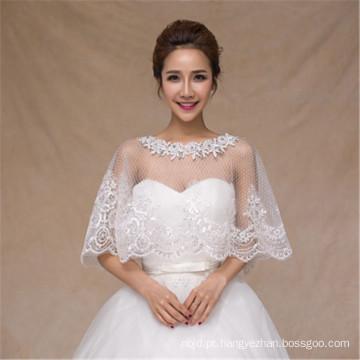 2017 Moda casamento branco vestido de renda appliques branco lacado xale