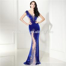 Elegante terciopelo largo alto cintura corte recorte zafiro azul sin respaldo Ladies Party vestido de noche de las mujeres