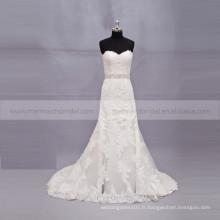 Graceful Heart Shape Mermaid Lace Robe de mariée Beading Belt Chapel Train vestido de noiva