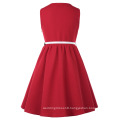 Grace Karin Children Kids Sleeveless Round Neck A-Line Red Girls Dress CL010482-3
