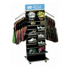 Slatwall de madera Movible Ciclo Warehouse Floor Display Moto o moto de seguridad Casco de seguridad