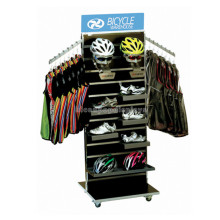 Wooden Slatwall Movable Cycle Warehouse Floor Display Motorcycle Or Motorbike Safety Helmet Stand