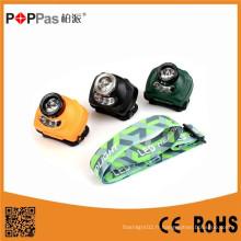 Poppas T15 3W 120lm CREE XPE R2 + 2 * LED rouge LED Lampe minière avec fonction capteur