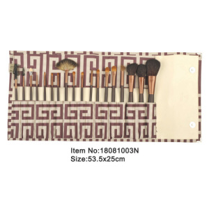 18pcs coffee brown plastic handle aniamal/nylon hair makeup brush tool set with printed canvas case