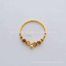 Gold überzogener 925 Sterlingsilber-Nasen-Ring, handgemachtes Septum Piercing Silberne Nasenring-Schmucksachen
