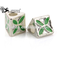 Jewelry Beads With Zinc Alloy Material Green Color Enamel With Silver Plated Wholesale New 2014