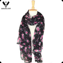 Spring Summer Promotional Long Polyester Flower Scarf