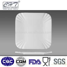 Quente venda fina de porcelana branca cerâmica placas de jantar quadrados