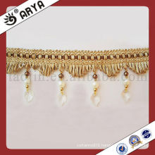 Brown Transparent Polyster Beaded Fringe For Curtain Decorative Fringe Trimming Cotton