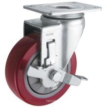 Rueda de poliuretano de rodamiento único para servicio mediano (rojo) (G3206)