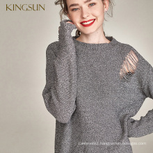 Woman Latest Special Shiny Metallic Knitted Pullover Two Different Wearing Styles