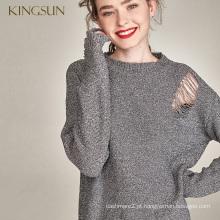 Mulher mais recente Pullover de malha metálica brilhante brilhante Dois diferentes estilos de desgaste