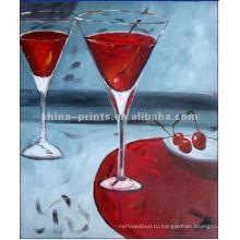 Художественное оформление винного стекла на холсте