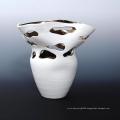 White Glazed Ceramic Tear Drop Design Air Plant Container Vase (PA02)