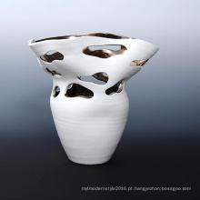 Branco esmaltado cerâmica lágrima gota design vaso recipiente de plantas de ar (pa02)